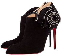 Christian Louboutin Mrs. Baba Suede Pointed Toe Black, Gold Boots