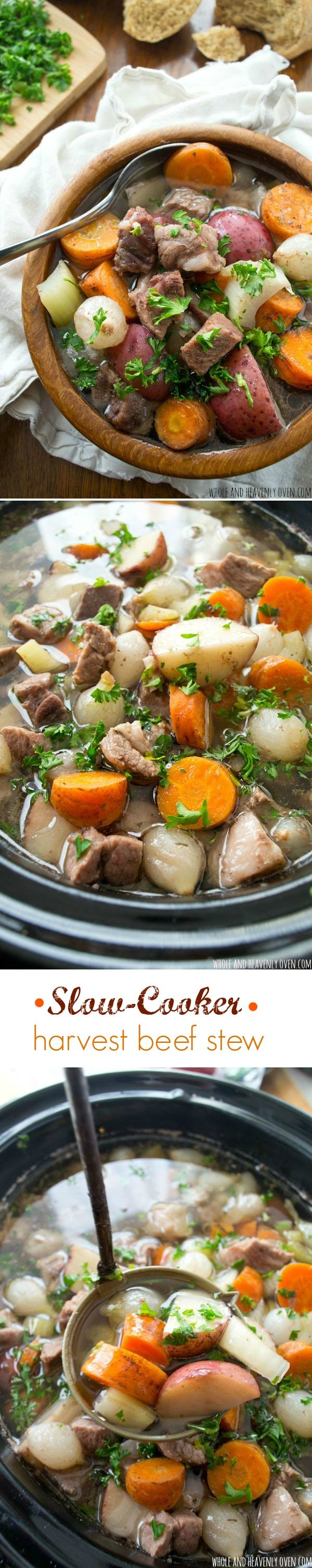 This hearty beef stew cooks completely in the crock-pot all day and is chock full of fall-apart-juicy beef, and tender harvest vegetables.---The perfect way to warm up on a chilly winter evening! @WholeHeavenly
