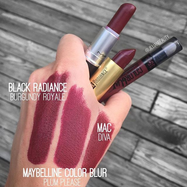 Is anyone else really excited for fall?! I especially can't wait to bust out my dark lip colors! Diva by @maccosmetics is my faaaavorite dark lipstick but I found a few others that are comparable. Burgundy Royale by @blackradiancebeauty ($2 at Walmart) is a very similar color but is creamier and less matte than Diva. And the @maybelline Color Blur in Plum Please is just as matte as Diva but is a bit more berry-toned than Diva in person. I definitely recommend any of the three! by…