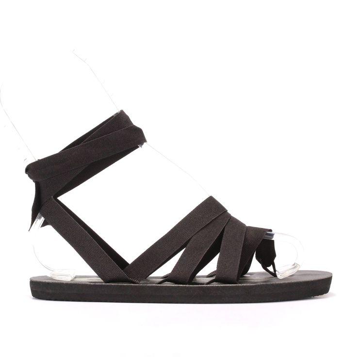 White Sun White Triple Black Flat Sandals