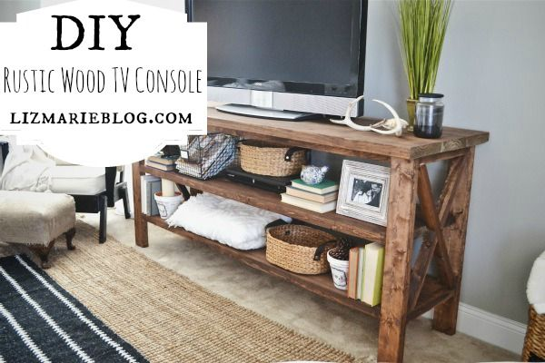 Diy tv console rustic wood posts and home for Diy pallet tv stand instructions