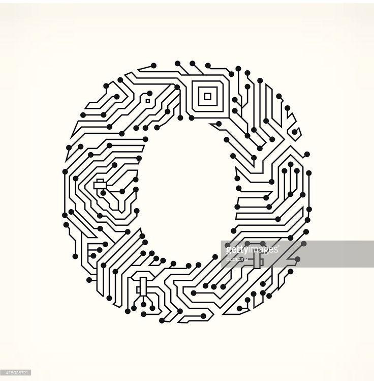 Vektorgrafik : Buchstabe O Schaltkreis auf weißem Hintergrund