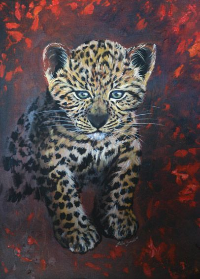 Baby Leopard - Oil Painting by Julie Sneeden