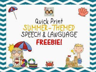 Speechie Freebies: Summer-Themed Quick Print, Opened- Ended Speech & Language FREEBIE! Pinned by SOS Inc. Resources. Follow all our boards at pinterest.com/sostherapy for therapy resources.