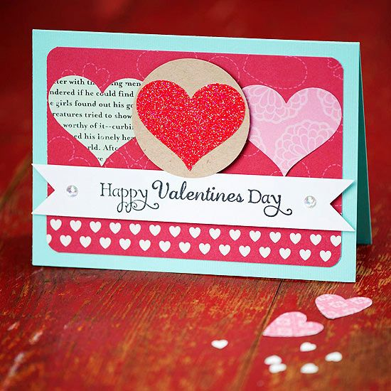 """Easy Valentine's Day Cards - These gorgeous Valentine's Day cards are oh, so easy to make, proving that even a beginning crafter can wow loved ones with a homemade valentine. Just a few paper punches, embellishments, and patterned scrapbooking paper can turn any easy Valentine's Day card into a beautiful way to say """"I love you."""""""