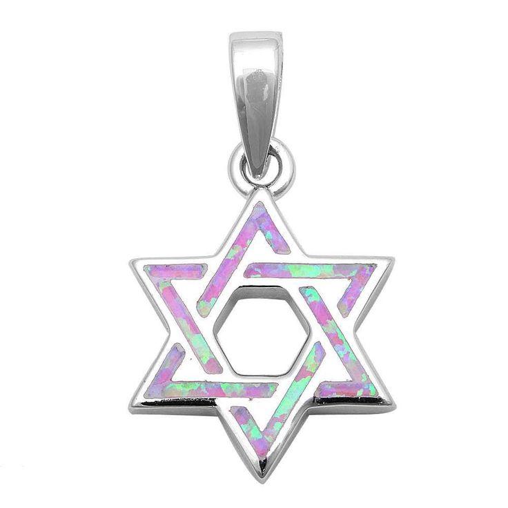 "1.1"" Star Of David Jewish Star Pendant Charm Solid 925 Sterling Silver Lab Created Pink Opal Jewish Star of David Jewelry"