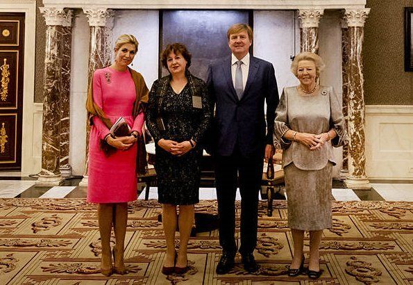King Willem-Alexander, Queen Máxima and Princess Beatrix of The Netherlands attended Erasmus Prize 2017 ceremony of The Praemium Erasmianum Foundation, held at Amsterdam Royal Palace. King Willem-Alexander presented Erasmus 2017 Prize to Canadian Sociology Professor Michèle Lamont.