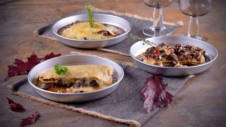 Lasagna de rabo de toro con velouté de setas y parmesano (Lasaña de rabo de toro) - Receta - Canal Cocina