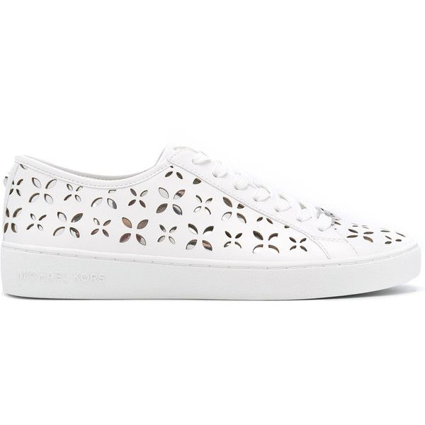 Michael Kors - floral cut-out sneakers - women -... (2,645 MXN) ❤ liked on Polyvore featuring shoes, sneakers, white, white leather sneakers, michael kors sneakers, michael kors trainers, cut-out sneakers and floral print sneakers