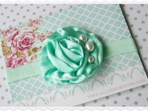 Mint satin and pearl baby girl headband
