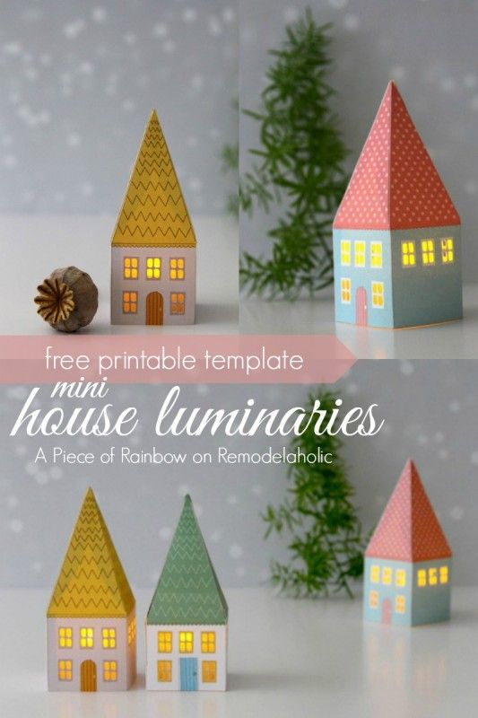 Mini House Luminaries - free printable template from A Piece of Rainbow on @Remodelaholic #winter #Christmas