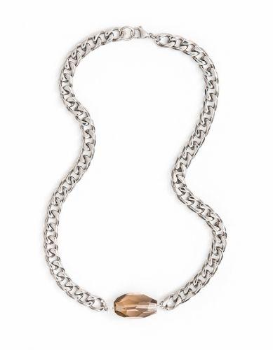 Smoky Quartz Steel Necklace 10mm
