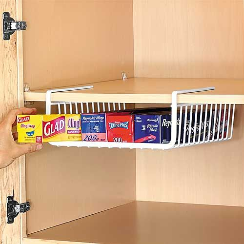 Under Shelf Wrap Rack keeps aluminum wrap, plastic wrap and wax paper rolls organized in one convenient location.  #BOGO