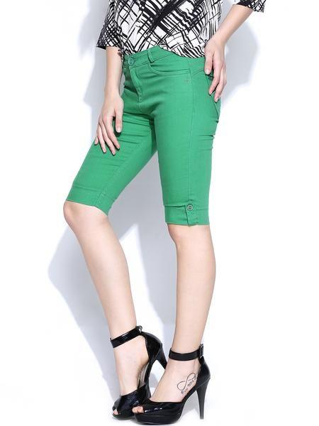 LadyIndia.com # Women Shorts, Xpose Green Shorts - Women Western Wear, Shorts, Women Shorts, Denim Shorts, Western Wear, https://ladyindia.com/collections/western-wear/products/xpose-green-shorts-women-western-wear?variant=30293315917