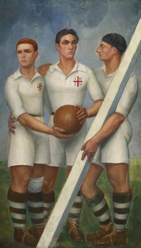 """""""Tres futbolistas con boina"""", 1921, Angel Zarraga (1886-1946)."""
