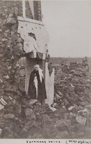 WW1 Red Cross volunteer, Varennes ruins. -Collection of the Massachusetts…