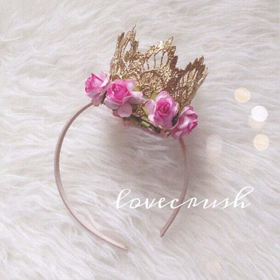 NEW sienna gold lace crown with pink flower trim (your choice of elastic or hard headband) on Etsy, $22.00