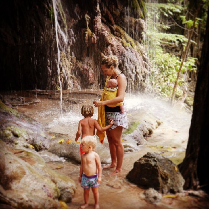 Family time in a waterfall