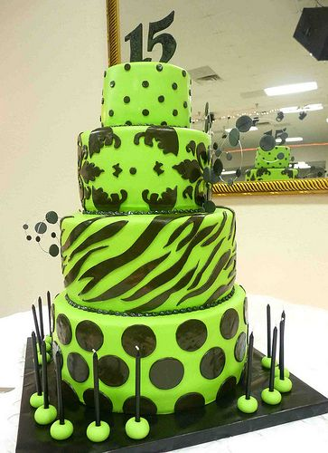 Birthday Cakes For Cheap ~ Lime green cake party city has the edible zebra circles for cheap my step daughter s