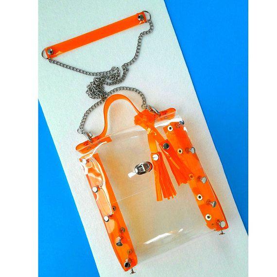 Clear orange crossbody bag transparent nfl style bag vegan
