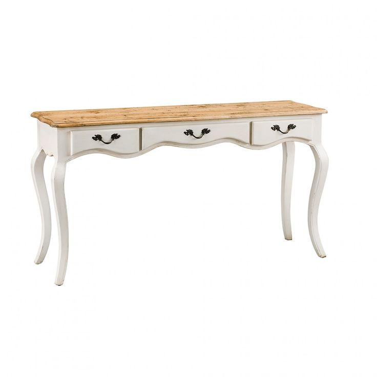 Provincial Oak 3 Drawer Hall Table Distressed White