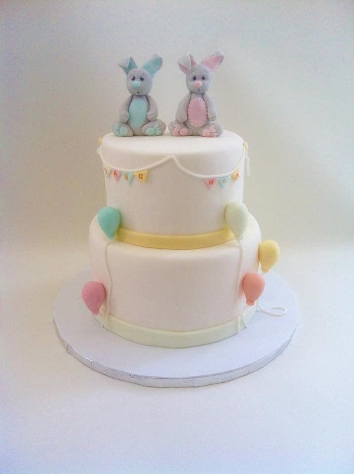 Tarta e bautizo mellizos de Dulce Dorotea. Christening cake for twins
