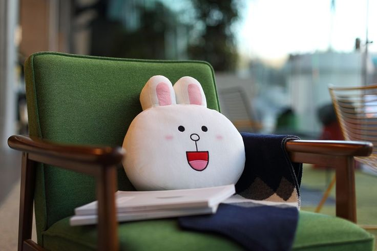 LINE FRIENDS Character Face Plush Cushion CONY Rabbit Official Goods #LINEFRIENDS