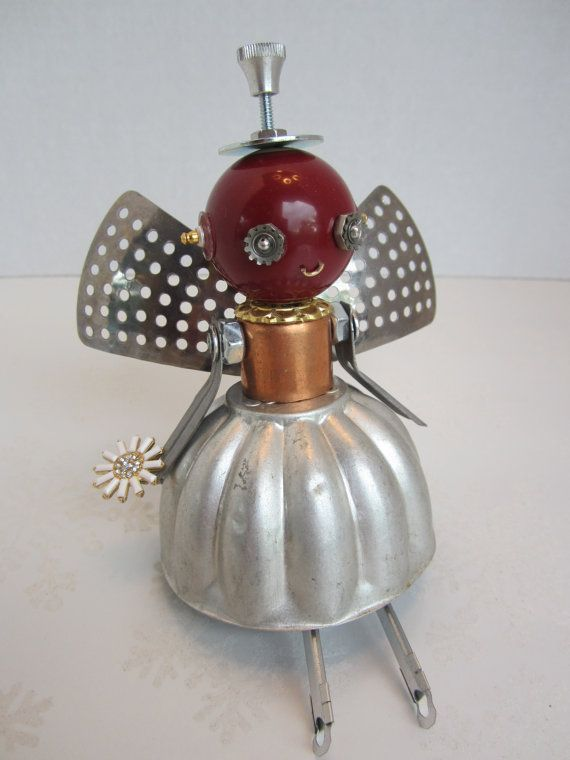 Garnet Fairy Bot - found object robot sculpture assemblage by Cheri Kudja with Bitti Bots. This just makes me smile!