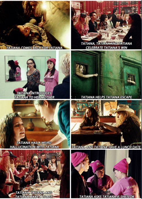 Got that straight? Welcome to Orphan Black. These are all from Season 3.