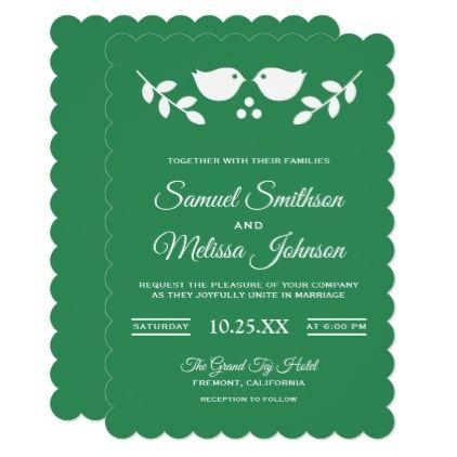 Cute Birds Folk Art Sea Green Wedding Invitation - love cards couple card ideas diy cyo