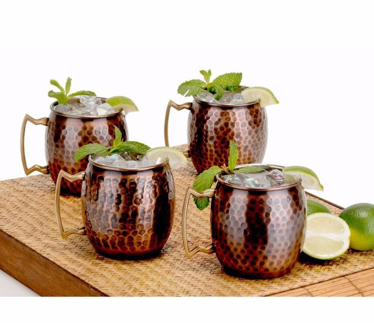 Antique Copper Moscow Mule Mugs Solid Hammered Set of 4 Drink Cups Hand Made Tea #OldDutch