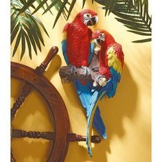 Design Toscano Inc Tropical Scarlet Macaws Wall Sculpture - QL11295