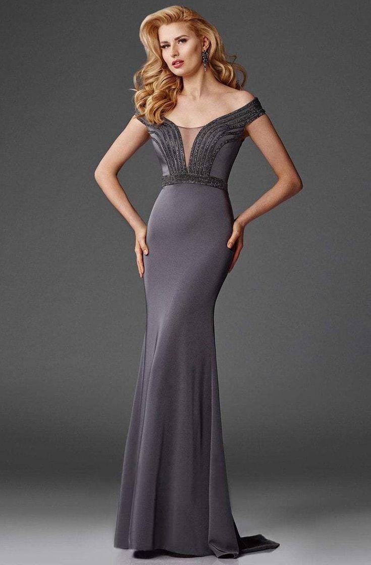 Clarisse – M6418 Off-Shoulder Stretch Satin Evening Gown