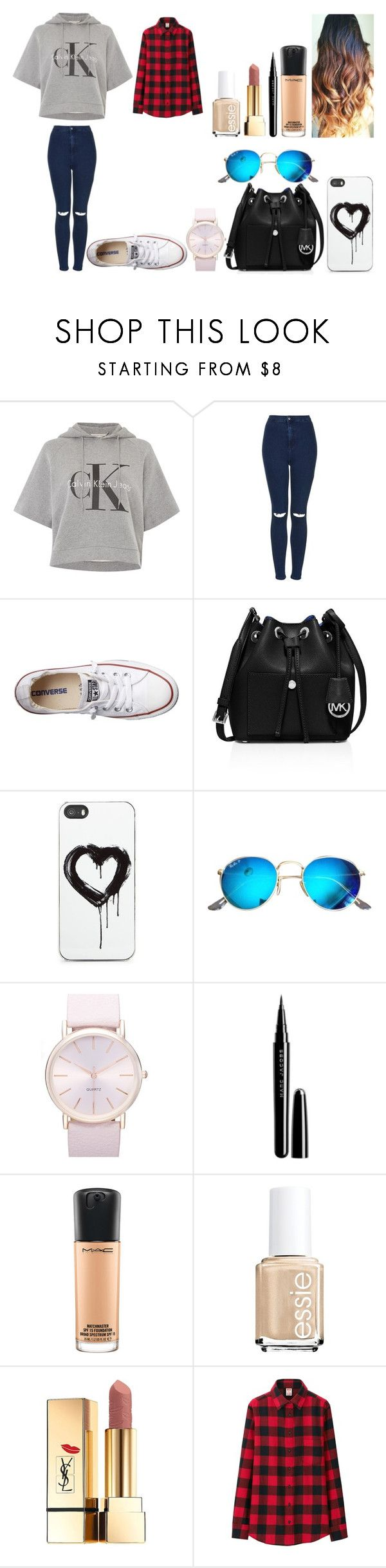 """""""Untitled #460"""" by kalieh092 on Polyvore featuring Calvin Klein, Topshop, Converse, MICHAEL Michael Kors, Zero Gravity, Ray-Ban, BP., Marc Jacobs, MAC Cosmetics and Essie"""