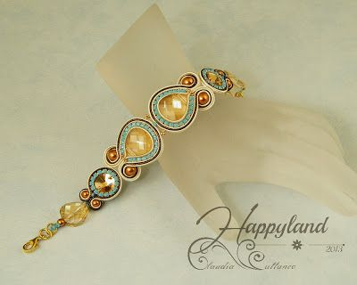 Soutache bracelet with Swarovski