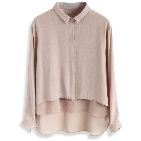 Chicwish Flappy Amenity Smock Top in Light Tan (£26) ❤ liked on Polyvore featuring tops, brown, smock top, brown top, chicwish tops, smocked top and tan top
