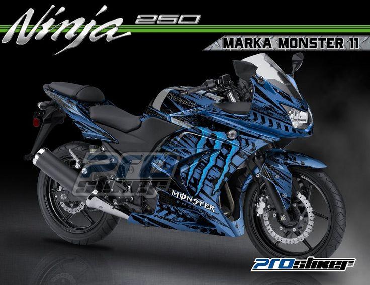Modif Ninja 250 Karbu Warna Biru Candy Decal Motif MARKA
