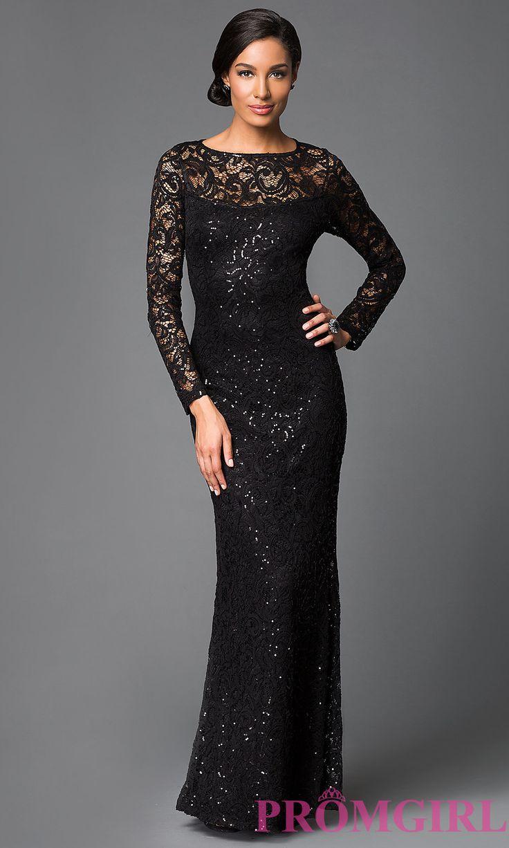 Image of long sleeve floor length sequin embellished lace dress  Front Image