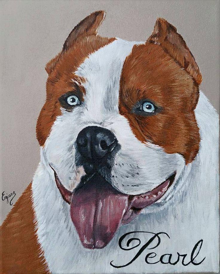 portraits de chiens american bull terrier peinture acrylique sur toile mes portraits. Black Bedroom Furniture Sets. Home Design Ideas