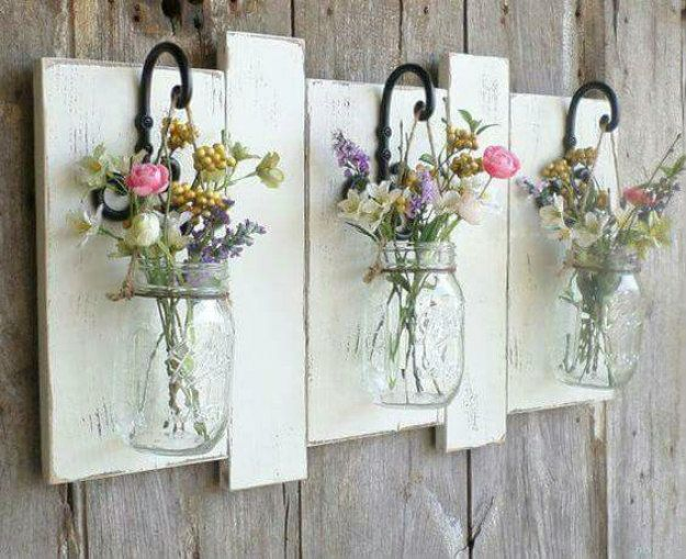 DIY Mason Jar Wall Flower Vase | Cool Mason Jar Crafts You Can Do At Home