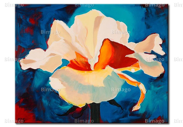 Quadro astratto con fiore bianco su sfondo azzurro // Abstract paiting with white flower