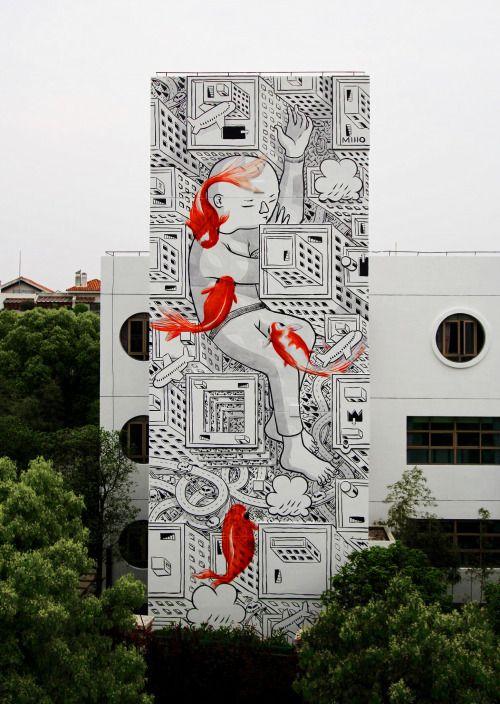 Street art, Shangaï by Millo                                                                                                                                                                                 Plus