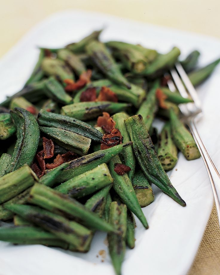 Seasoned with bacon and red pepper, sauteed okra is a classic side dish that also works beautifully when served at room temperature for a picnic. For the best flavor and texture, cook okra quickly over high heat.