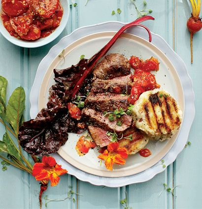 Seared ostrich with griddled pap - Delish. Roasted the tomatoes slightly longer and served with roasted butternut and lots of herbs