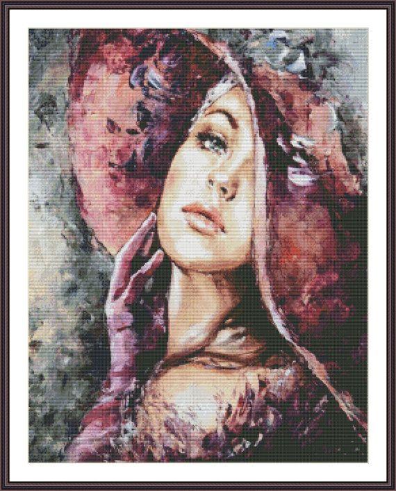 Woman Cross Stitch Pattern  Cross Stitch Hat  by ZAnnaCrossStitch