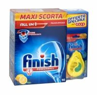 Finish Powerball All In 1 Dishwasher Tablets 90 Pack With Freshener Finish All in 1 has 10 powerful actions so you can clean even the toughest stains from your dishes. It also helps you protect your glasses and stainless steel. These tablets also protect your dishwasher from limescale and grease build up
