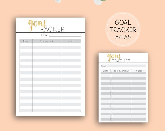 Printable Goal Tracker, A4 digital download home binder planner pages