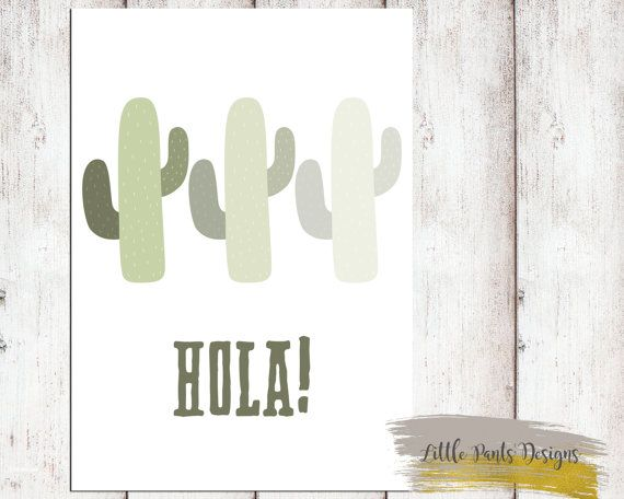 "Cactus Digital Print ""Hola!"" Hello Fun Poster. Downloadable Printable Digital Graphic Aztec Tribal Cactus DIY Artwork Green Mexican by LittlePantsDesigns"