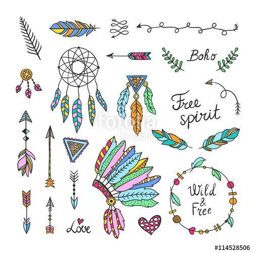 Vector: Boho style elements. Hand drawn tribal symbols^ arrows, feathers…