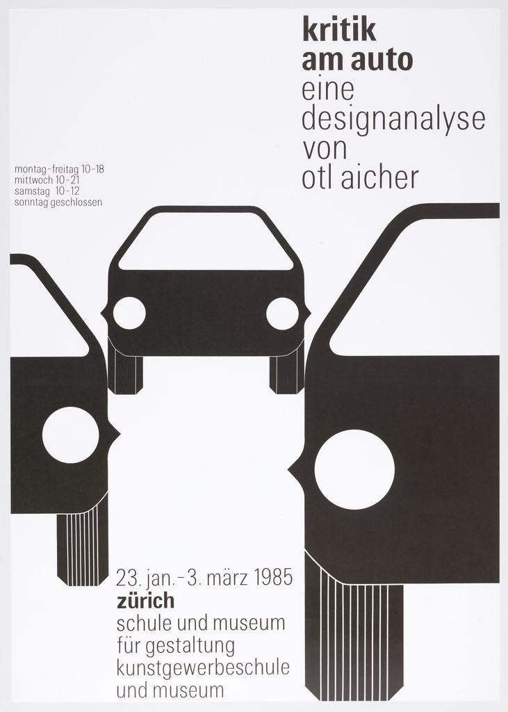 """Poster, """"Kritik am Auto: Eine Designanalyse von Otl Aicher"""", 1986"""